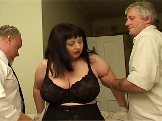 Big lady has two hard fuckers to nosh their on-again-off-again dicks