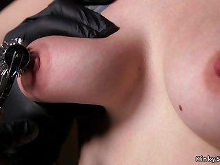 Gagged slave takes hotness wax bondage