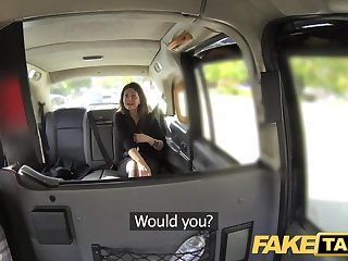 Fake Taxi big facial cum shot for brunette fro stockings
