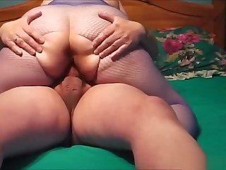 BBW pantyhose wife riding stiff member