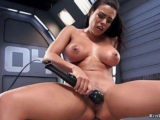 Huge boobs beauty takes having intercourse machine