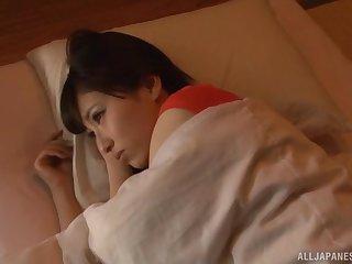 Cute Japanese wife Mitani Akari woken up plus fed cum