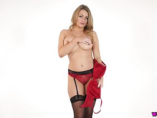 Sexy buxom lady in black tights Penny L plays with her juicy Bristols
