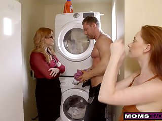 Married chick is having a casual 3some with her step- daughter-in-law increased by her jaw-dropping stud