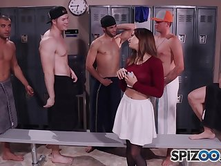 Sara Luvv Getting Gangbanged in be transferred to locker room