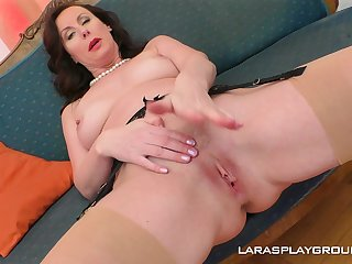 Mature glamorous overcast Lara strips and fingers yourself