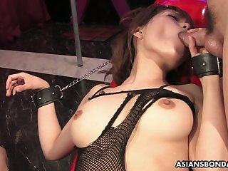 Bushy pussy of handcuffed Asian slut Yui Shimizu is teased with sex toys