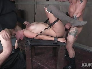 Hardcore pussy with an increment of face fuck for Mona Wales after a long time she is tied up