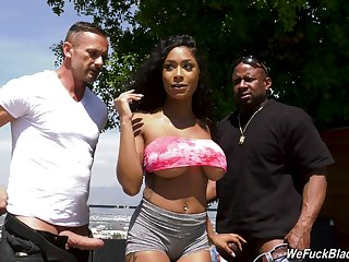 Inked funereal bombshell Sarai Minx sprayed with cum in a gangbang