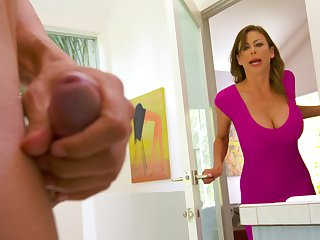 Spotting her son's friend masturbating in all directions the bathroom