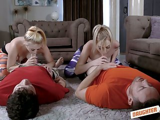 Kinsley Anne and the brush nasty day swap their stepdads for daft foursome sex