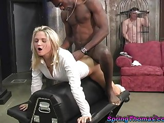 Cuckold in a cage watches Spring Thomas fucked by a black guy