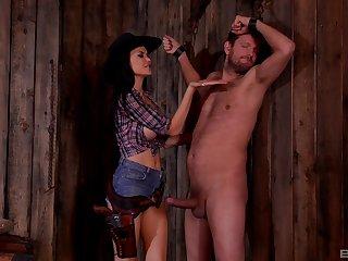 Busty plastic raunchy MILF Jasmine Jae impaled by a beamy dick in a barn