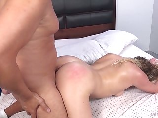 Wild normal looking slut round chubby boodle Mickey Tyler rides fat cock