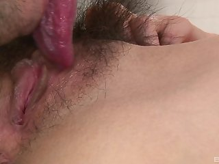 Asian brunette gets their way pussy pounded by their way side like never before