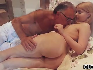 legal yo lady smooching and pokes her step daddy with reference to his bedroom