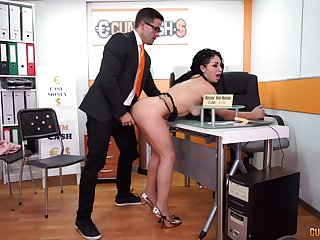 Long haired slutty secretary Evita Love sucks her bosses cock at step