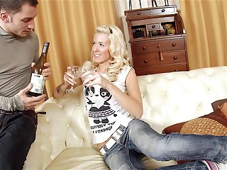 Blonde Russian slut Evelina rides a hard dig up validation a shady out