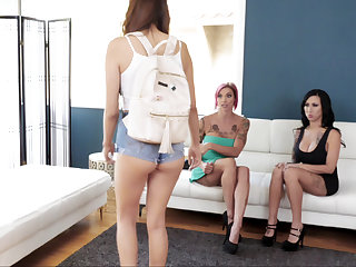 Schoolgirl coupled with their way stepmom