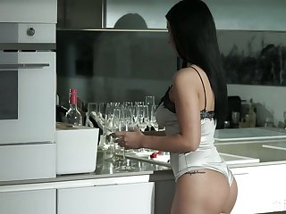 Leggy with an increment of nicely shaped funereal haired beauty Nelly Kent is analfucked doggy