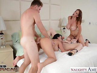 Cougars Charlee Chase, Holly Halston with an increment of Sara Jay shacking up