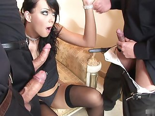 Susie Diamond is dressed to the nines in her black thigh high stockings