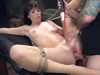 Hardcore anal bondage doggy fuck session regarding brunette Alana Cruise