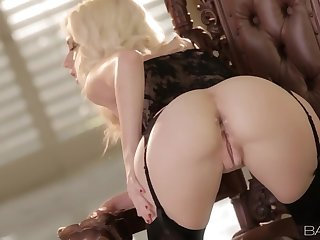 Flawless bleach blonde girl masturbates downland underclothes