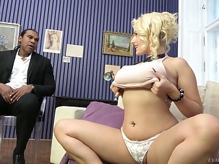 Wow blond milf Angel Wicky gives a boobjob and gets her pussy blacked