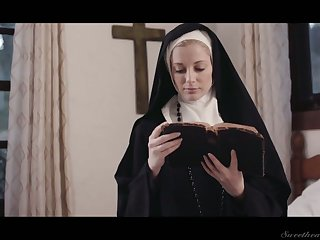 Sinful lesbian nun Mona Wales is licking and feel in one's bones gender juicy pussy