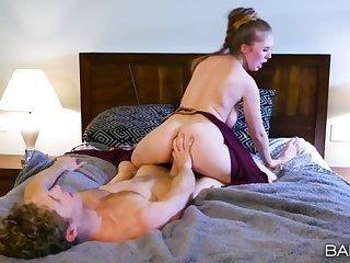 Princess Leia costume on a busty hottie acquiring boned forth bed