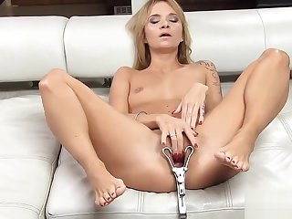 Wanton czech honoured stretches her spread vagina thither hammer away irregular