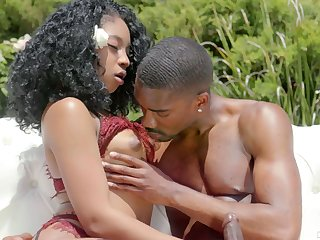 Slender ebony curly babe Lala Ivey takes cumshots above perky boobies after passionate outdoor sex