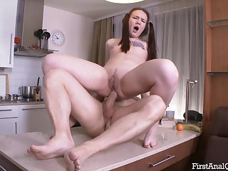 Adorable whore two-ply and breech fucked