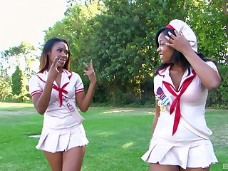Amber Star and her lesbian ebony friend please each other's cunts