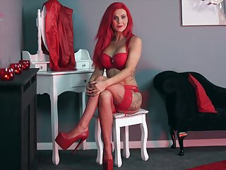 Ardent red haired alone Roxi K is ready to flash you her tight tits