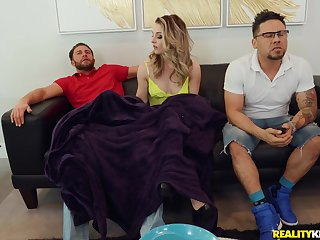 Hot blonde Kate Kennedy  pleasing a friend's dick on rub-down the chair