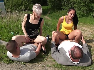 Have a crush on for hot outdoor foursome carnal knowledge connects old and young