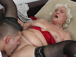 Blonde mature Judit Gali gets her pussy licked and pounded by her lover