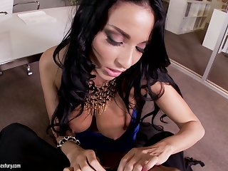 Hot like fire brunette MILF Jayden Jaymes provides black stud with nice BJ
