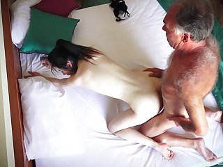 Hotel room spy cam records amateur couple having staggering sex
