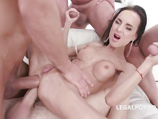 Welcome Back Aletta Black 4on1 GangBang round Double Anal