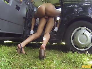 Rough taxi cab make the beast with two backs for dear small-chested dame Kira Noir