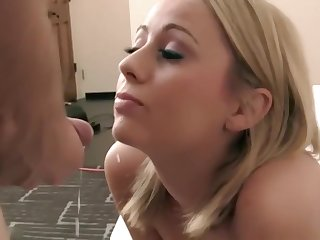 Beautiful Blonde Teen Facial Coupled with Swallowing Cums
