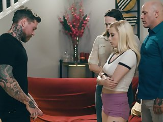Tattooed man loves gagging the blonde and fucking their way cherry