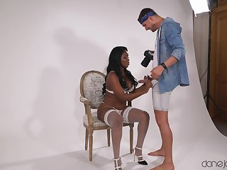 Big ass ebony parcel out drops her panties respecting be fucked by a white guy