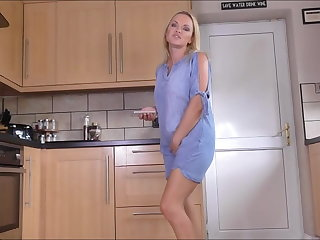 Sexy blonde pissing at one's fingertips chum around with annoy pantry