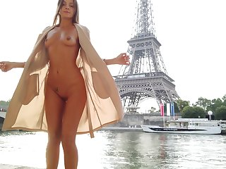 Brawny exhibitionistic babe trade mark Day-Glo her ass and tits tag along to Eiffel Tower