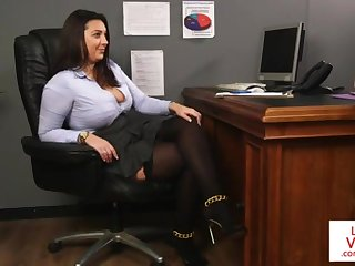 Office honey teaches slave shafting partner to masturbate