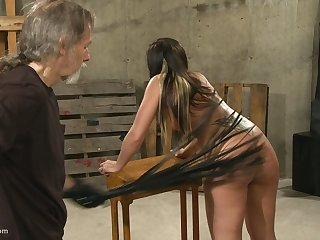 Submissive black-hearted MILF gets unshod to realize say no to round ass spanked